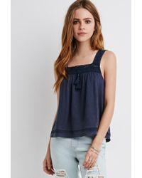Forever 21 | Blue Tasseled Crochet Trim Tank | Lyst