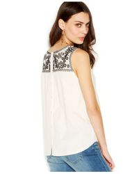 Lucky Brand - Natural Lucky Brand Sleeveless Embroidered-Yoke Top - Lyst