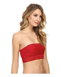 Free People - Red Scalloped Lace Bandeau - Lyst