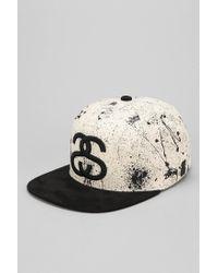 3f2a17427971 Stussy Splatter Snapback Hat in Black for Men - Lyst