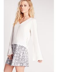 974b7474b09d2 Lyst - Missguided Lace Side Crop Blouse White in White