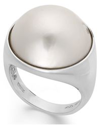 Macy's - Metallic Cultured Freshwater Pearl Mabe Ring In Sterling Silver (17mm) - Lyst