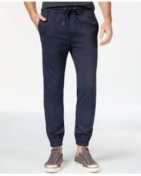 Guess | Blue Neil Mini-herringbone Jogger Pants for Men | Lyst
