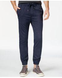 Guess - Blue Neil Mini-herringbone Jogger Pants for Men - Lyst