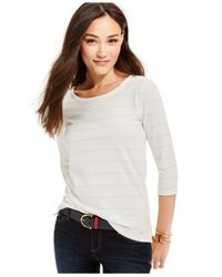 Tommy Hilfiger | Natural Striped Three-quarter Sleeve Top | Lyst