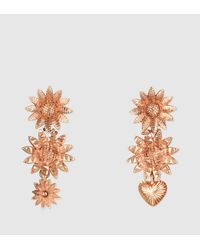 Gucci | Metallic Flora Earrings In Pink Gold | Lyst