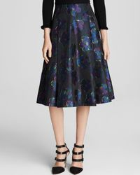 kate spade new york - Blue Floral Print A-Line Skirt - Lyst