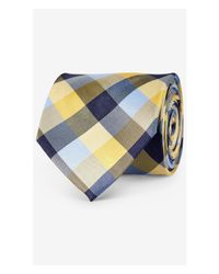 Express - Yellow Checked Narrow Silk Tie - Pitch Black for Men - Lyst