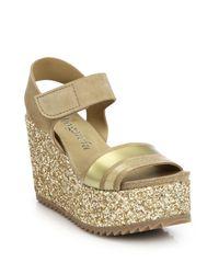 Pedro Garcia | Metallic Dalia Suede & Glitter Wedge Sandals | Lyst