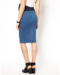 ASOS | Blue Denim Seamed Tube Skirt in Dark Wash | Lyst