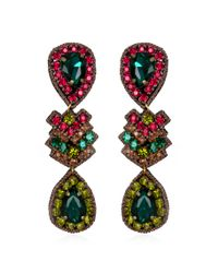 Suzanna Dai | Green Zocalo Drop Earrings, Fuchsia/olive | Lyst