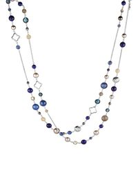David Yurman - Metallic Bead Necklace With Gray Pearls & Lapis Lazuli - Lyst