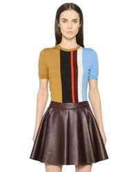 Mrz - Multicolor Striped Jacquard Short Sleeve Sweater - Lyst