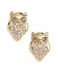 kate spade new york | Metallic Owl Stud Earrings | Lyst
