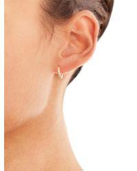 Ileana Makri - White Diamond & Yellow-Gold Mini Hoop Earrings - Lyst