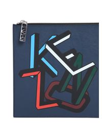 KENZO - Blue Printed Leather Pouch - Lyst