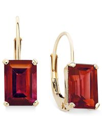 Macy's | Metallic 10k Gold Earrings, Emerald-cut Garnet Leverback Earrings (3/4 Ct. T.w.) | Lyst