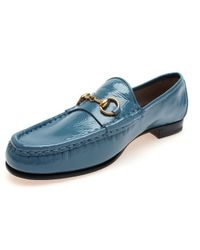 08efcde9b Lyst - Gucci 1953 Classic Horsebit Patent Leather Loafer in Blue for Men