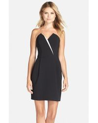 Adelyn Rae | Black Strapless Crepe Sheath Dress | Lyst