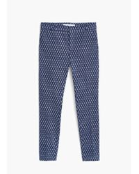 Mango - Blue Printed Cotton Trousers - Lyst