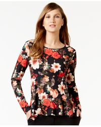 Cece by Cynthia Steffe - Multicolor Floral-print Long-sleeve Top - Lyst