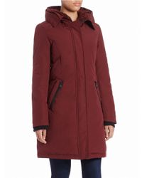 Vince Camuto - Red Faux Fur-trimmed Coat - Lyst