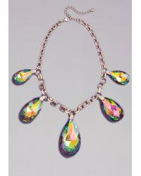 Bebe - Metallic Iridescent Gems Necklace - Lyst