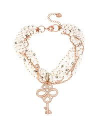 Betsey Johnson | Metallic Pave Key Pendant And Faux Pearl Torsade Necklace | Lyst