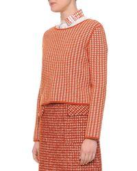 Bottega Veneta - Orange Cashmere Check Woven Top - Lyst