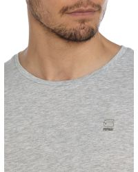G-Star RAW - Gray Mikan Regular Fit Crew Neck Logo T-shirt for Men - Lyst