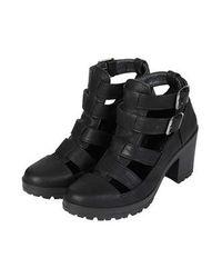 TOPSHOP - Black Mega Cut-Out Boots - Lyst