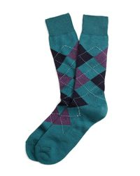 Brooks Brothers | Blue Argyle Crew Socks for Men | Lyst