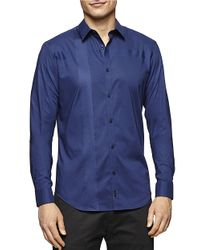 Calvin Klein | Blue Satin Striped Sportshirt for Men | Lyst