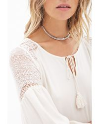 Forever 21 - White Crochet Lace Peasant Top - Lyst