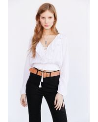 Kimchi Blue - White Tie-front Banded Bottom Blouse - Lyst