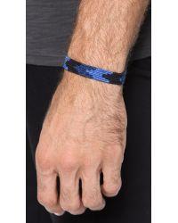 Caputo & Co. - Blue Handwoven Ribbon Bracelet for Men - Lyst