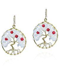 Aeravida | Blue Eternal Tree Of Life Coral-moonstone Branch Brass Dangle Earrings | Lyst