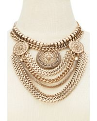 Forever 21 - Metallic Mixed Chain Medallion Necklace - Lyst