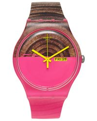 Swatch - Unisex Swiss Woodkid Semi-transparent Multicolor Silicone Strap Watch 41mm Suop703 - Lyst