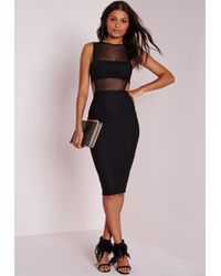 Missguided | Crepe Sleeveless Cut Out Midi Dress Black | Lyst