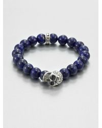 King Baby Studio - Blue Sterling Silver Beaded Skull Braceletlapis for Men - Lyst