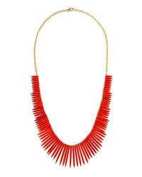 Kenneth Jay Lane - Red Graduated Spike Bib Necklace Coral - Lyst
