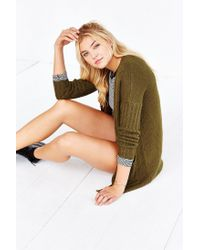 Silence + Noise | Green Ribbed-sleeve Open-front Cardigan | Lyst