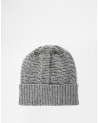 b78524a8f Fred Perry Filey Gansey Beanie Hat In Lambswool in Gray for Men - Lyst