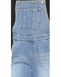 SJYP - Blue Denim Overall Shorts - Lyst