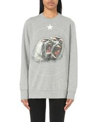 Givenchy | Gray Monkey-print Cotton-jersey Sweatshirt | Lyst