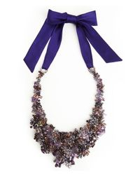 Natori | Purple Beaded Bib Necklace | Lyst