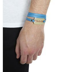 McQ - Blue Turquoise Razor Leather Wrap Bracelet for Men - Lyst