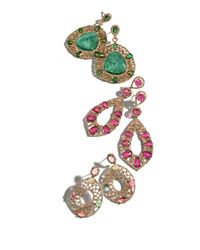 Bavna - Purple 18k Rose Gold Pink Tourmaline & Diamond Teardrop Earrings - Lyst