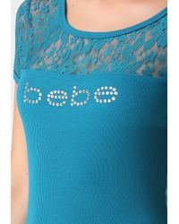 Bebe | Blue Logo Lace Tease Tee | Lyst